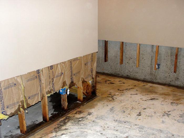 Basement Wall Finishing Materials : Basement wall restoration in manchester boston lowell