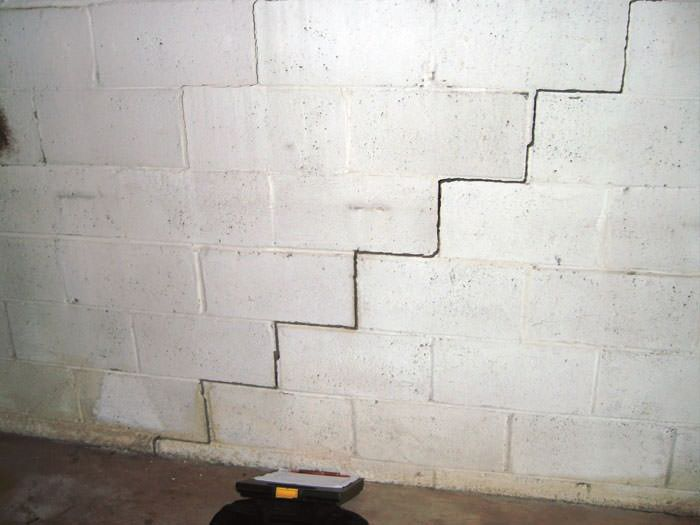 Bowing foundation wall repairs in massachusetts new hampshire a diagonal stair step crack along the foundation wall of a salem home solutioingenieria Choice Image