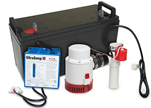 a battery backup sump pump system in Medford