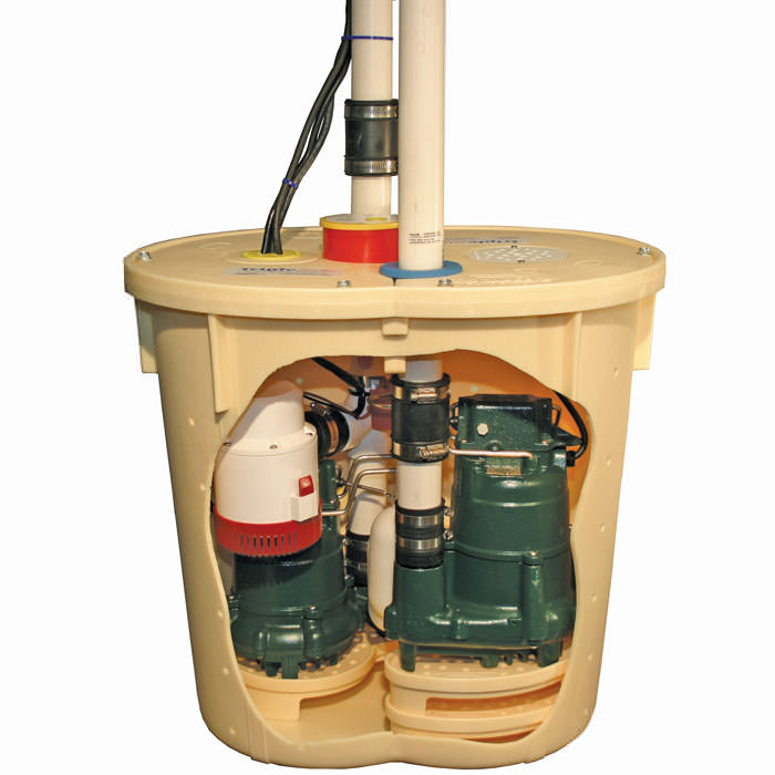 our triplesafe sump pump system including airtight lid primary pump