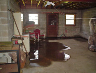 a flooded basement floor in a Andover home