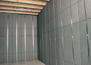 SilverGlo™ insulation and metal studs making up our Basement to Beautiful panels.  Installed in Lynn.